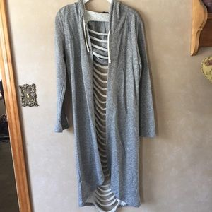 Long gray cutout cardigan